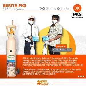 Persada Realty Sumbang 2 Set Tabung Oksigen Medis kepada PKS Jatiasih