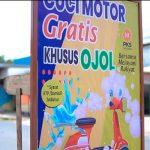 PKS Sediakan Cuci Motor Gratis Buat Ojol di Jatiluhur